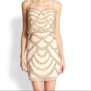 Aidan Mattox Nude Dress with Sequins. Size 12.